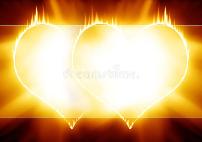 Płonący serca royalty ilustracja