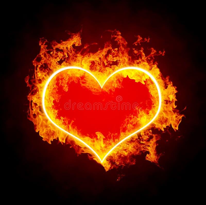 płonący serce fotografia royalty free