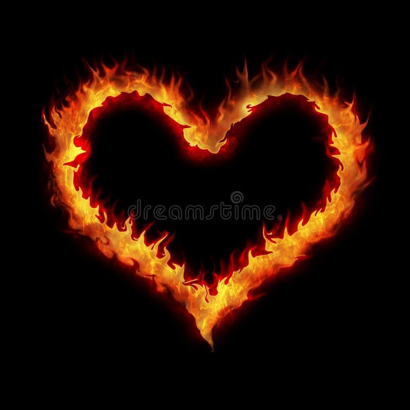 płonący serce ilustracji