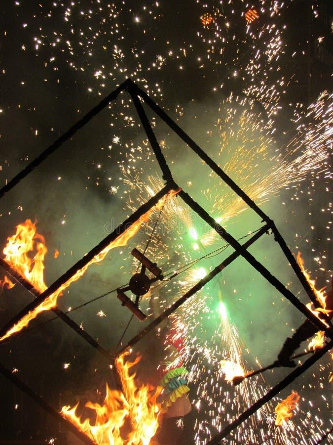Płonący sześcian zdjęcie stock