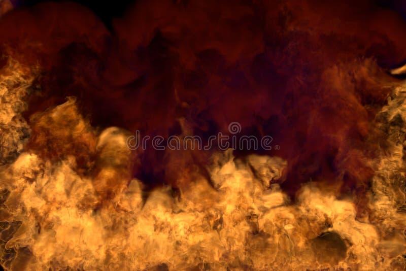 Płonący tajemnica dzikiego ogienia na czarnym tle, przyrodnia rama z zwartym dymem - ogień od lewica i prawica dna i kątów - ilustracja wektor