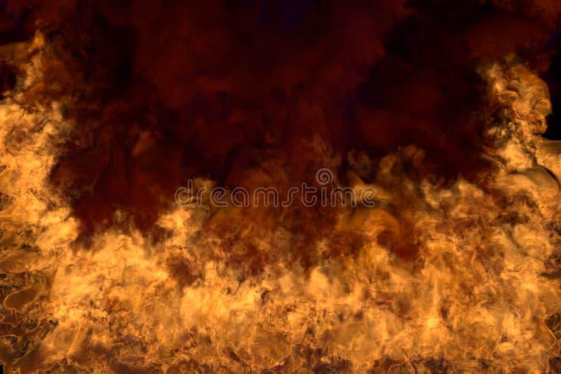 Płonący tajemniczego dzikiego ogienia na czarnym tle, przyrodnia rama z zwartym dymem - ogień od lewica i prawica dna i kątów - royalty ilustracja