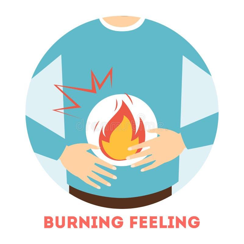 Płonący uczucie w żołądku Objaw gastritis ilustracji