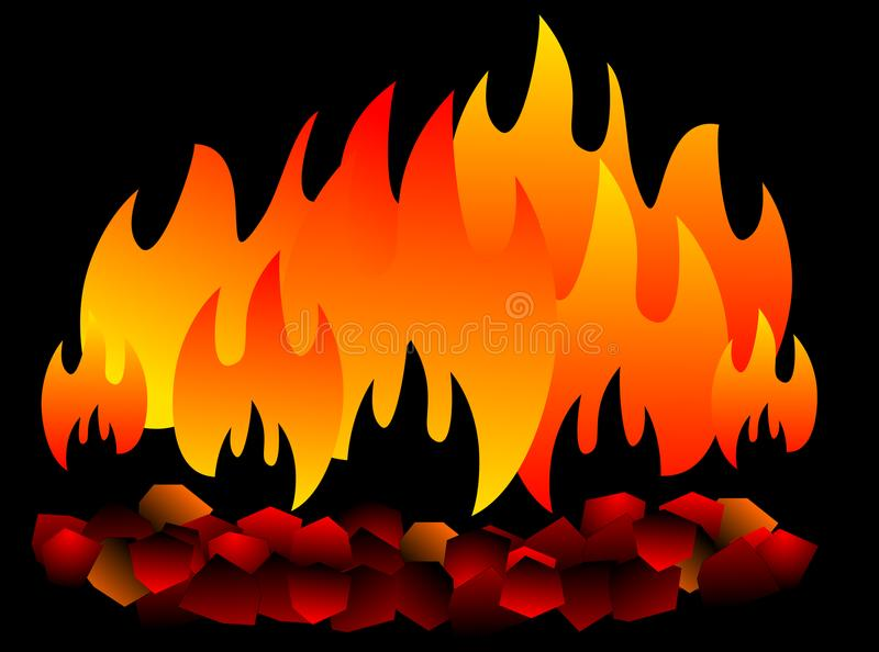 Płonący węgiel odizolowywający gorący węgiel na czarnym tle ilustracja wektor