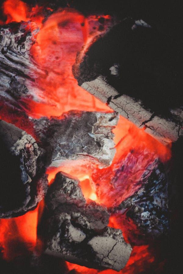 Płonący węgle drzewni w kuchence w górę widoku, tła i tekstury, zdjęcie stock
