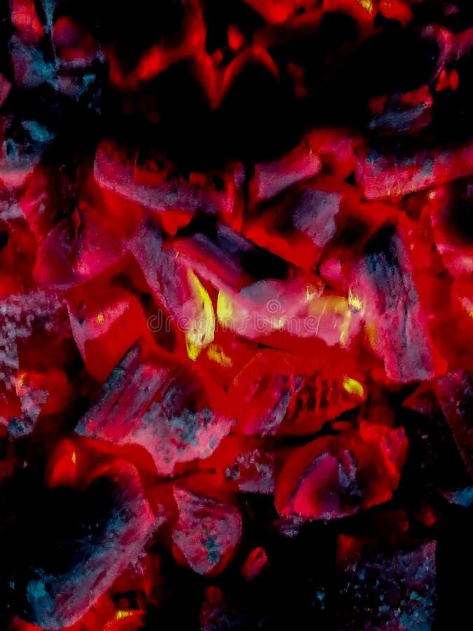 Płonący węgle w czerwonawych i pomarańcze brzmieniach obraz stock