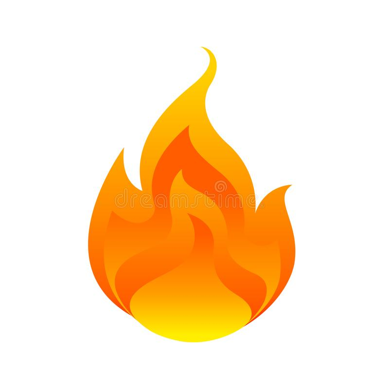 Płonie, kula ognista odizolowywająca na białym tle, ogienia oparzenie symbol, płomień ikona, płomienny logo, ognisko blasku royalty ilustracja
