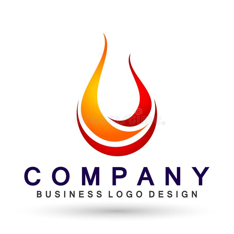 Płonie pożarniczego logo, nowożytny płomienia logotypu symbolu ikony projekta wektor na białym tle ilustracji