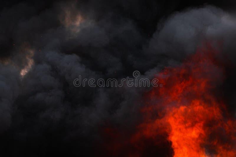 Płonie silnego czerwonego przemysłowego ogienia, dramatyczne chmury czerni dym zakrywający niebo zdjęcie royalty free