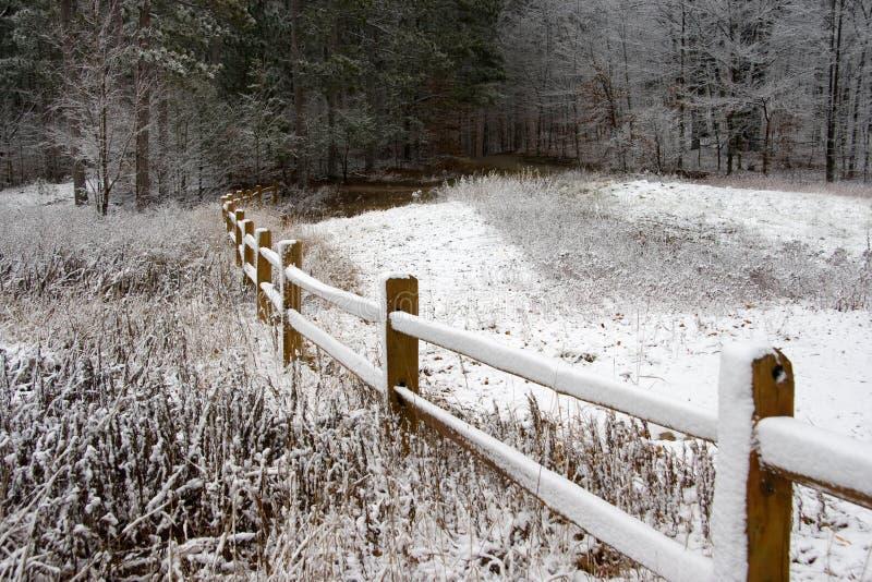 płotowa śnieżna zima obrazy royalty free