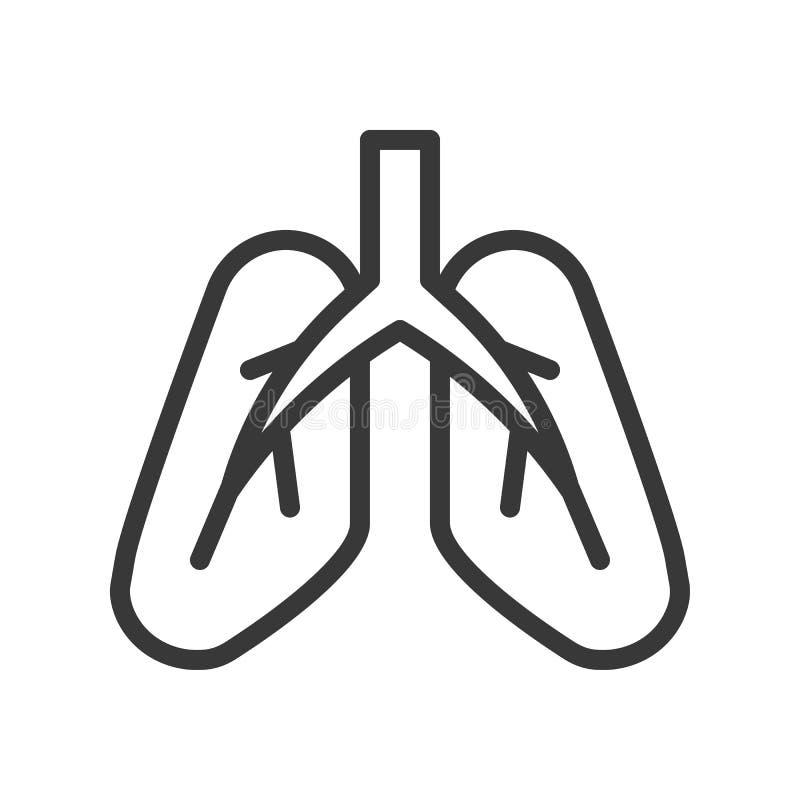 Płuca, ludzki organ odnosić sie konturu wektoru ikonę ilustracji