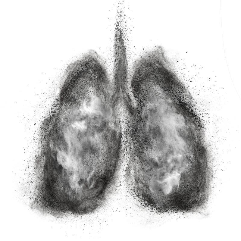 Płuca robić czarnego proszka wybuch odizolowywający na bielu zdjęcia royalty free