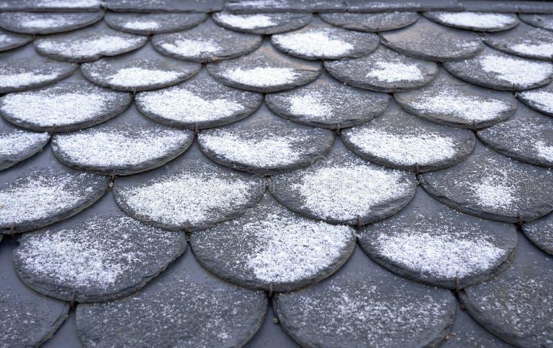 Płytki dachowe Zimowy dach, tło z śniegiem zdjęcie stock