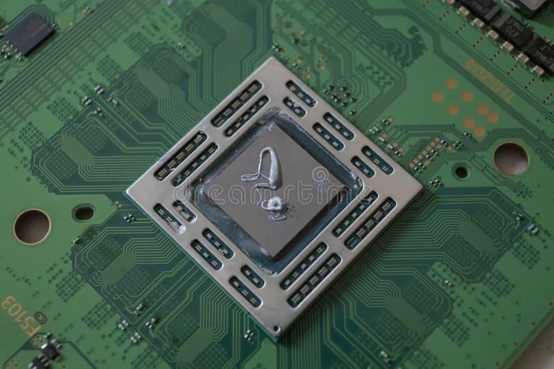 Płyty głównej jednostki centralnej komputerowy składnik od limitowanego dodatku komputerowej konsoli obraz stock