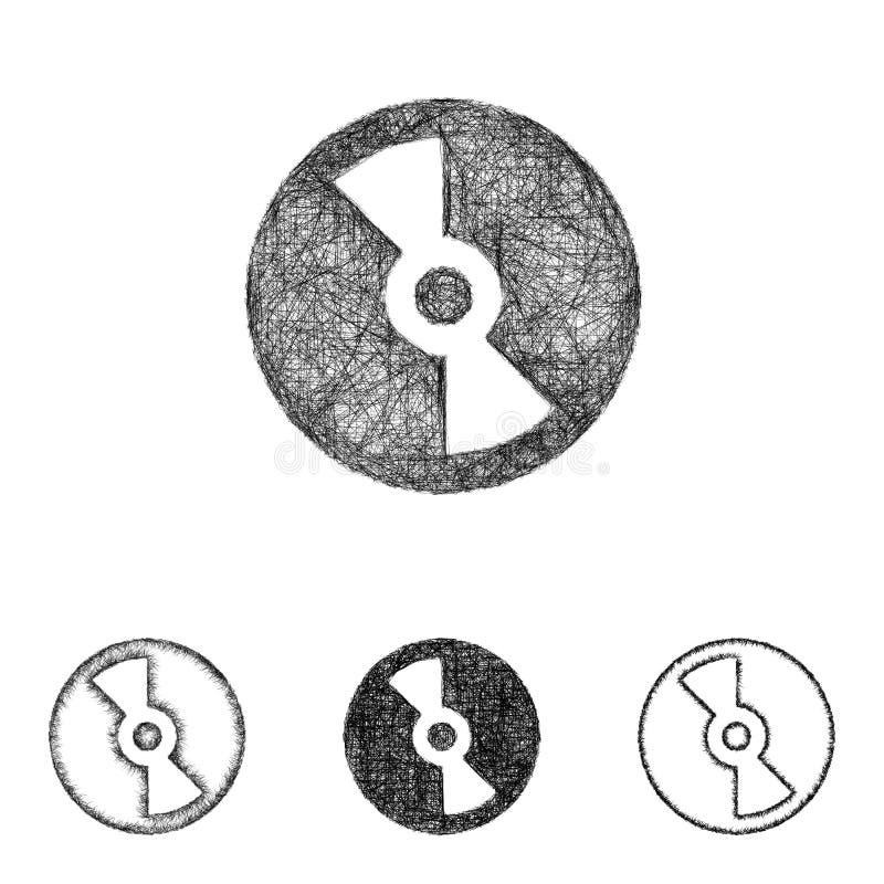 Płyty kompaktowej ikona ustawiająca - nakreślenie kreskowa sztuka ilustracja wektor