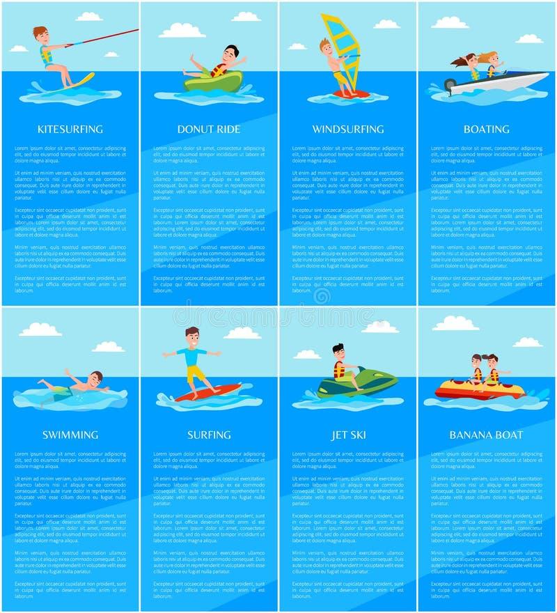 Pływać i wodniactwo, Tryskamy Narciarską i Bananową łódź ilustracji