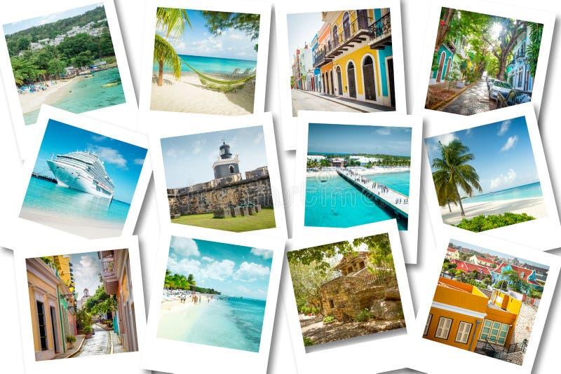 Pływa statkiem wspominki na polaroid fotografiach - lato karaibscy wakacje obraz royalty free
