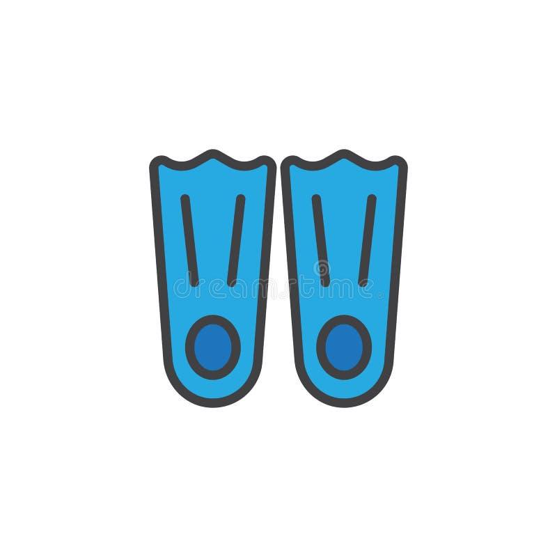 Pływaccy żebra wypełniająca kontur ikona ilustracji