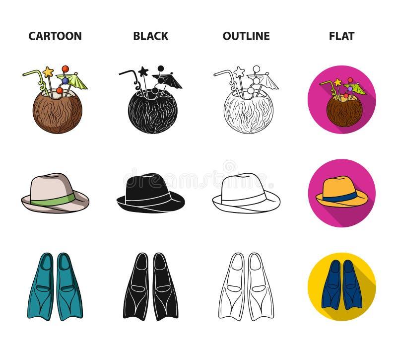 Pływaccy bagażniki, koktajl z koksem, Panama i flippers, Surfować ustalone inkasowe ikony w kreskówce, czerń, kontur, mieszkanie ilustracja wektor