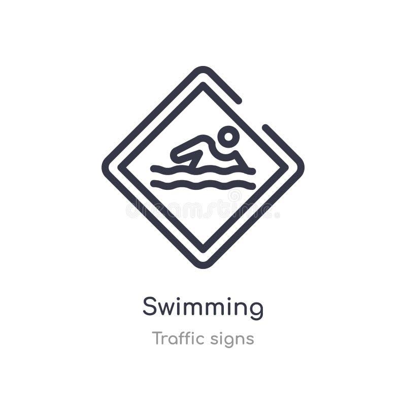 pływacka kontur ikona odosobniona kreskowa wektorowa ilustracja od ruch?w drogowych znak?w inkasowych editable cienieje uderzenie ilustracji