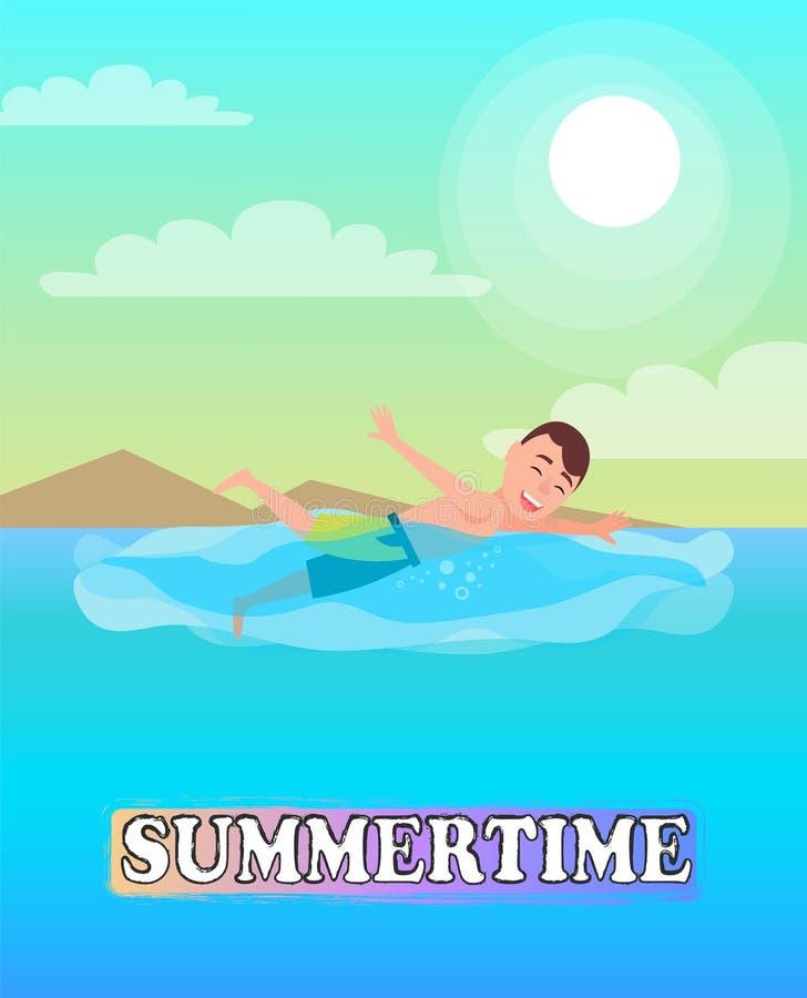 Pływacka sport aktywność, mężczyzna Pływa w Błękitnym morzu ilustracja wektor