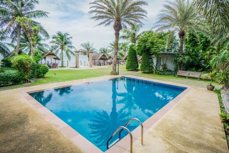 Pływacki basen z kokosowymi drzewami przy luksusowym kurortem zdjęcie royalty free