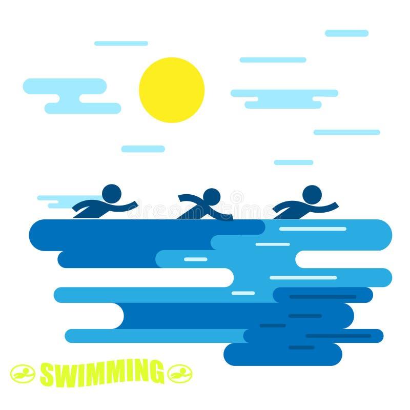 _ Pływacki emblemat Synchronizuj?cy dop?yni?cie Lata spoczynkowy dopłynięcie jest sportem zdjęcie royalty free