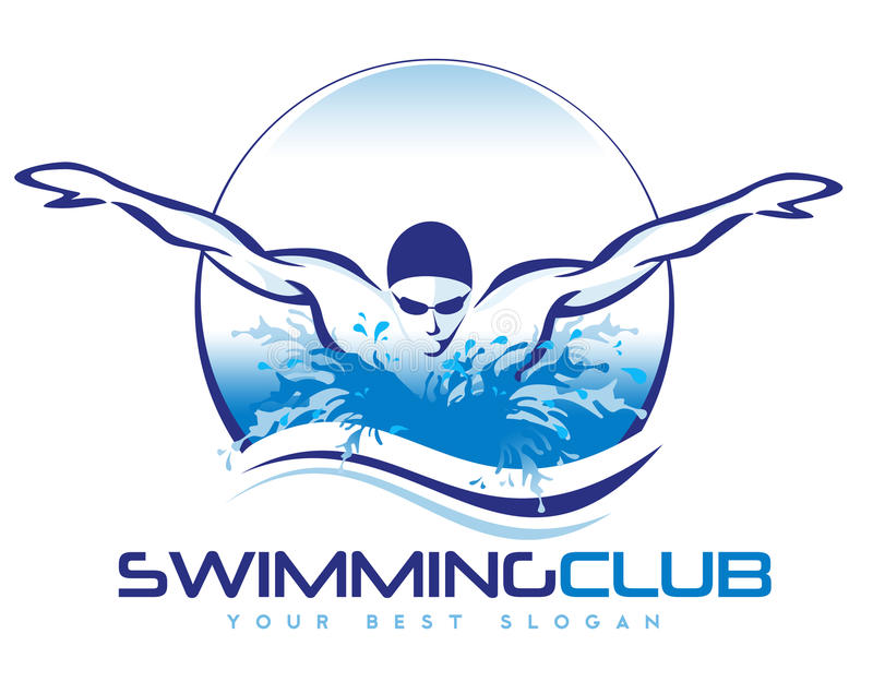 Pływacki logo ilustracja wektor
