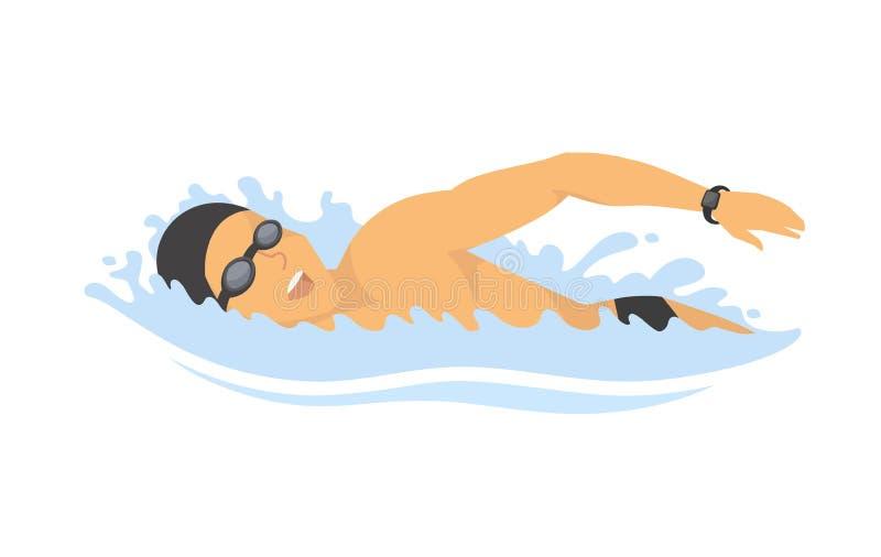 Pływacki mężczyzna - nowożytna kolorowa wektorowa postać z kreskówki ilustracja ilustracji