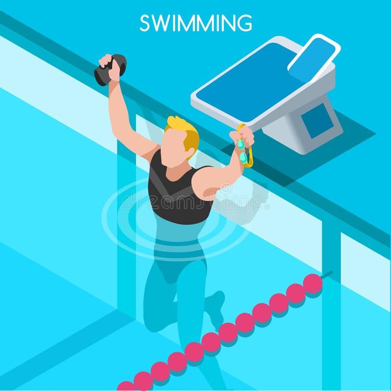 Pływacki stylu wolnego lata gier ikony set 3D Isometric pływaczka Żabki Backstroke motyla luzowania rywalizaci Sportowa rasa ilustracji