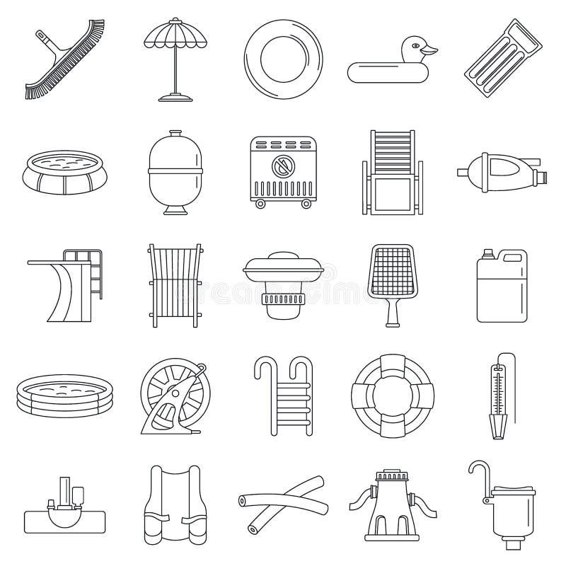 Pływacki wyposażenie ikony set, konturu styl ilustracja wektor