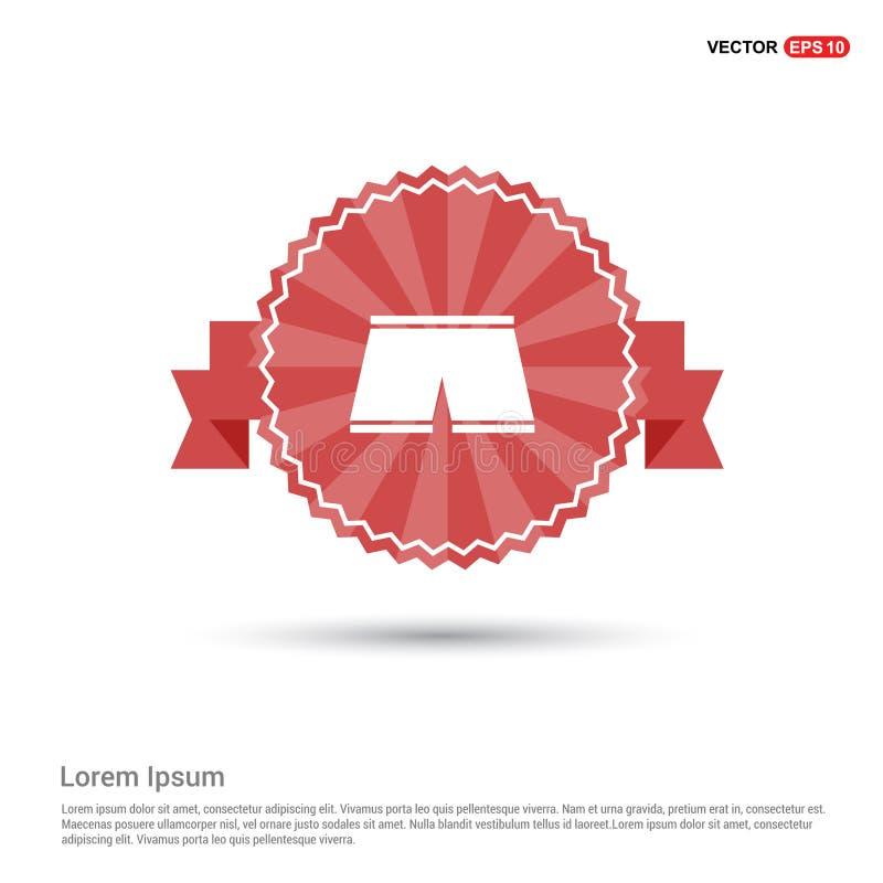 Pływackich bagażników ikona - Czerwony Tasiemkowy sztandar ilustracja wektor