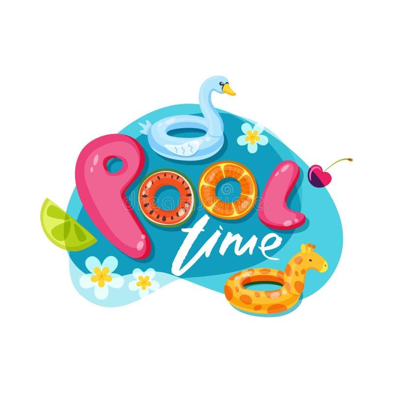 Pływackiego basenu czasu listy Wektorowa etykietka, majcher lub druku projekt, Łabędź i żyrafy pławika dzieciaków zabawki Doodle  ilustracji