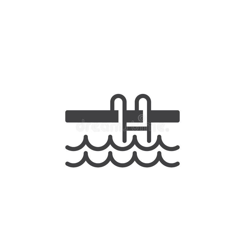 Pływackiego basenu Drabinowa wektorowa ikona ilustracji