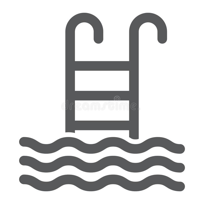 Pływackiego basenu glifu ikona, woda i sport, ilustracji