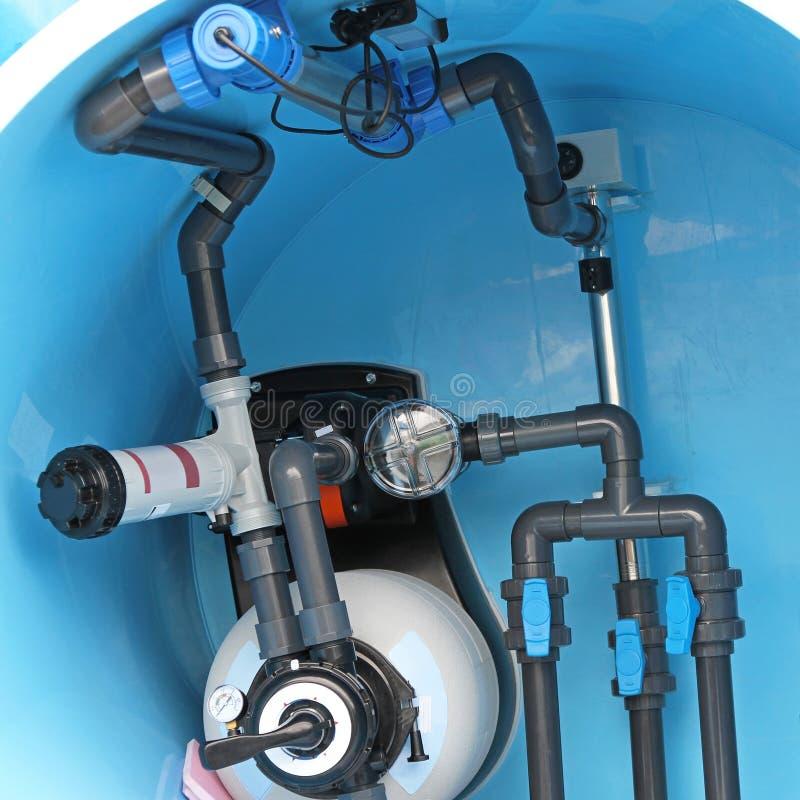 Pływackiego basenu instalacja wodnokanalizacyjna zdjęcie stock