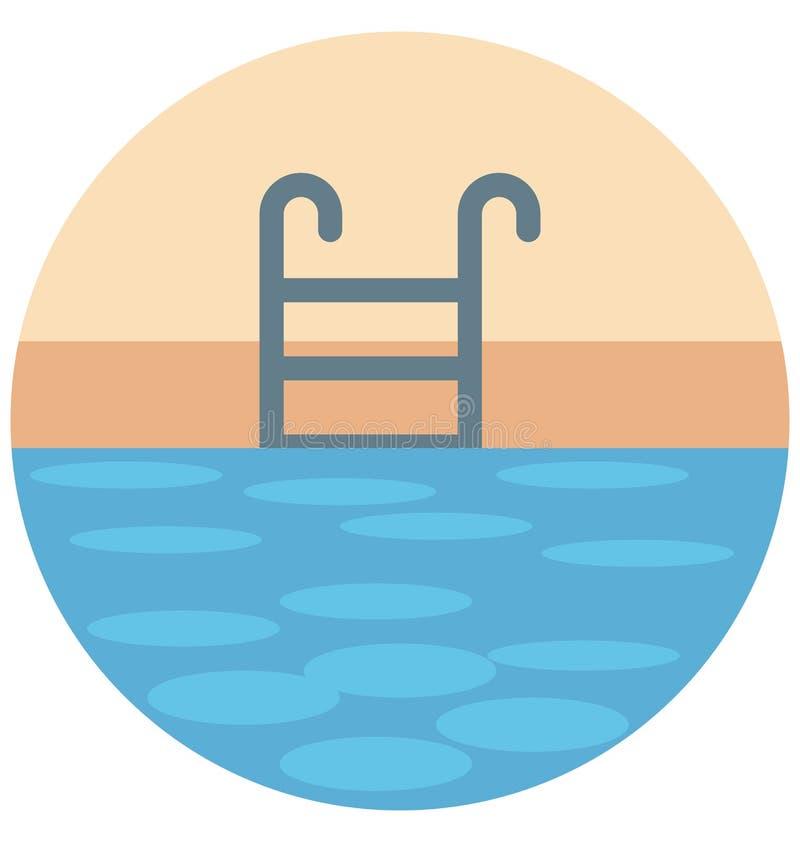 Pływackiego basenu koloru ikony editable, specjalny Ilustracyjny wektor Odizolowywający łatwy use dla i, royalty ilustracja