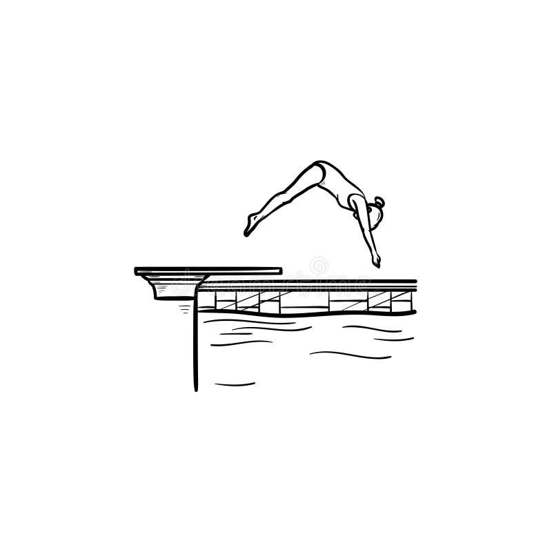 Pływackiego basenu pikowania konturu doodle żeńska ręka rysująca ikona royalty ilustracja