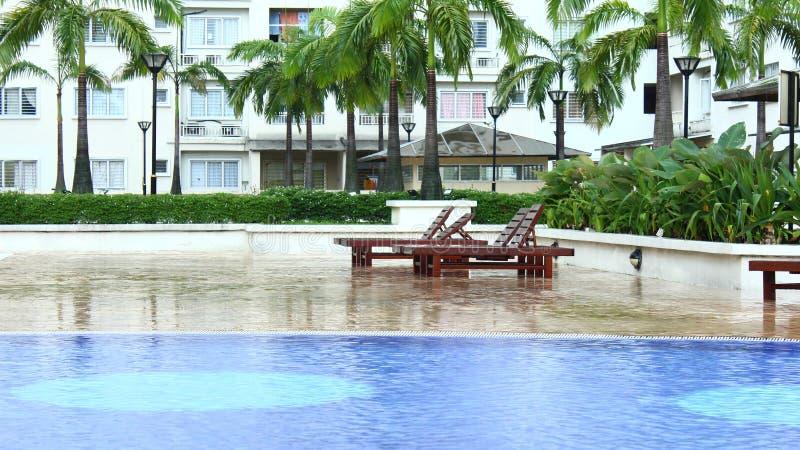 Pływackiego basenu teren z zielonymi drzewami zdjęcie royalty free