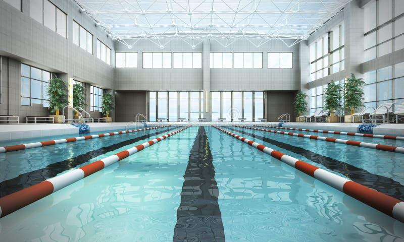 Pływackiego basenu wnętrze 3d odpłaca się wizerunek ilustracji