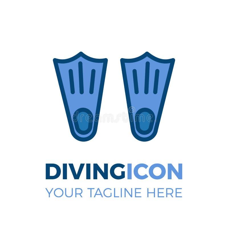 Pływackiego i nurkowego wyposażenia biznesu ikona Para żebra dla plaży, wodni sporty, wakacje, hobby, lato ilustracja wektor