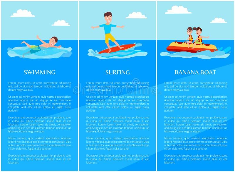 Pływackiego surfingu Inkasowa Wektorowa ilustracja ilustracja wektor