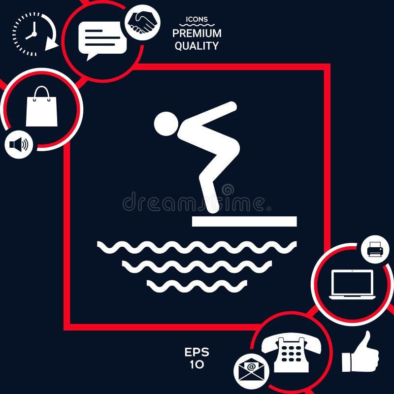 Pływaczka na trampolinie, Skacze w wodę - ikona ilustracja wektor