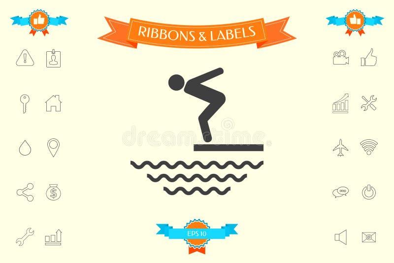 Pływaczka na trampolinie, Skacze w wodę - ikona ilustracji
