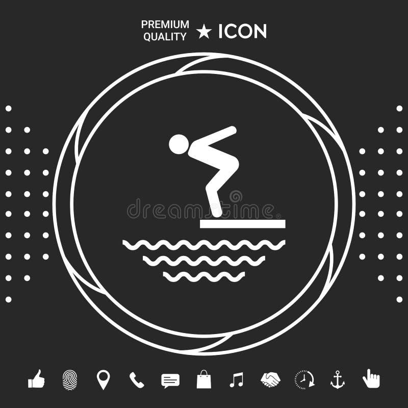 Pływaczka na trampolinie, Skacze w wodę - ikona Graficzni elementy dla twój designt ilustracji