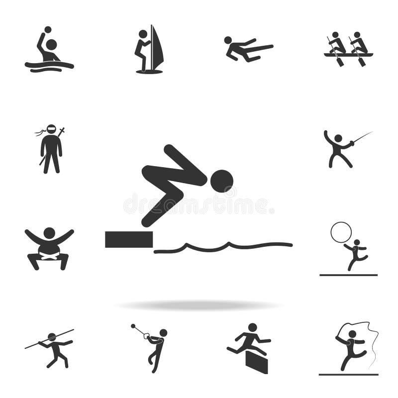 Pływaczki doskakiwanie od zaczyna bloku w basen ikonie Szczegółowy set atlet i akcesoriów ikony Premii ilości graficzny projekt ilustracji