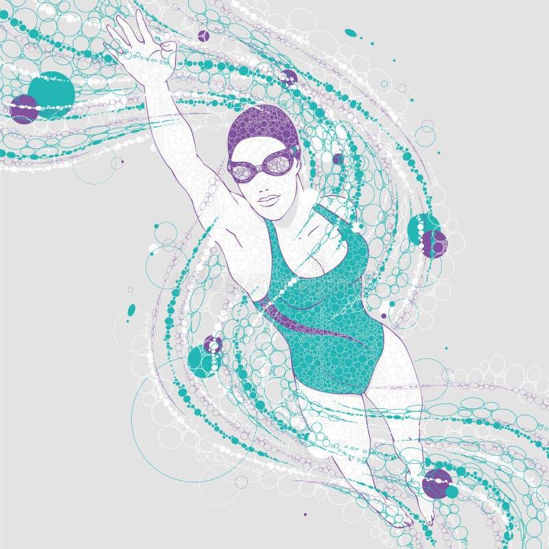 Pływaczki kobieta z grafika wlec na świetle - szary tło royalty ilustracja