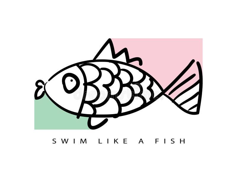 Pływanie jak rybi, T koszulowych grafika/Tekstylny wektorowy druku projekt zdjęcie royalty free