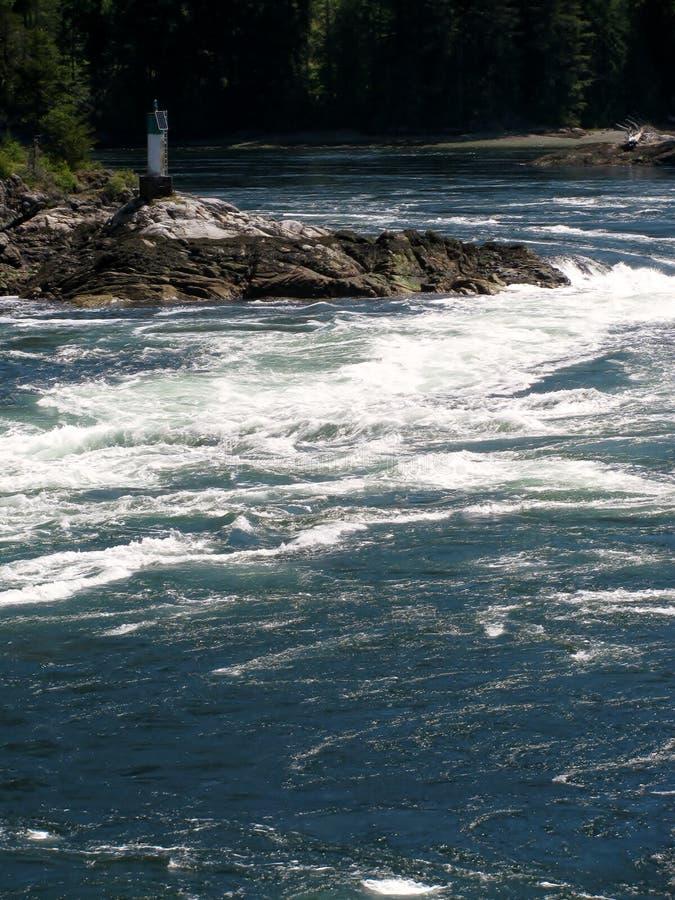 Pływowi gwałtowni przy Skookumchuck Zwężają się prowincjonału parka obraz stock