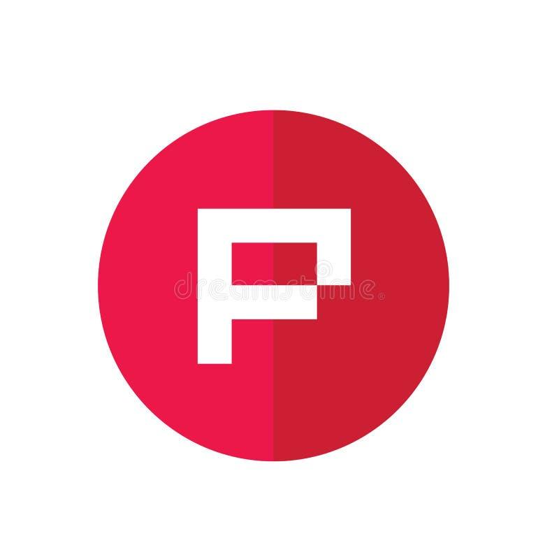 P信件最初商标,红色圈子象设计-传染媒介 库存例证